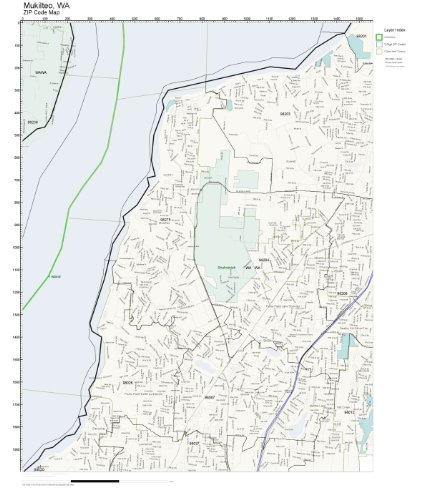 ZIP Code Wall Map of Mukilteo, WA ZIP Code Map Not Laminated ()
