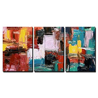 3 Piece Canvas Wall Art - Abstract Painting - Modern Home Art Stretched and Framed Ready to Hang - 16