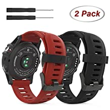 Garmin Fenix 3 / Fenix 5X Accessories, MoKo Soft Silicone Replacement [2 PCS] Watch Band with Tools for Garmin Fenix 3 / Fenix 3 HR Smart Watch - Black & Dark Red