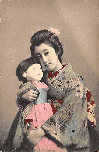 Japanese Girl With Doll Kimono Tinted Real Photo Antique Postcard K95380 (Japanese Kimono Antique)