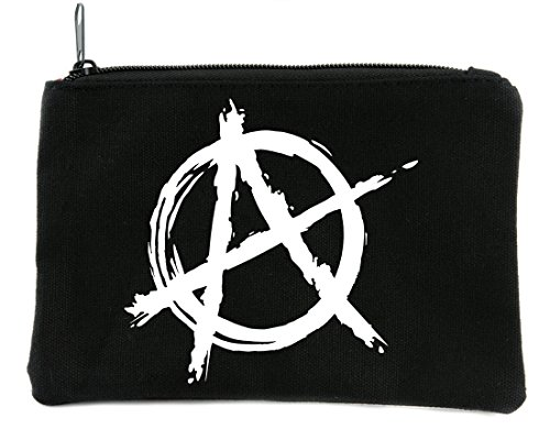 White Punk Rock Anarchy Sign Symbol Cosmetic Makeup Bag Alternative Clothing -