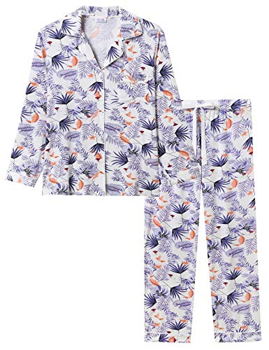 Joyaria Womens Soft Bamboo Pajama Sets Button Down Long Sleeve Pj Pants Set Sleepwear (Palm Leaf,Small) (Cotton Nursing Pajama Set)
