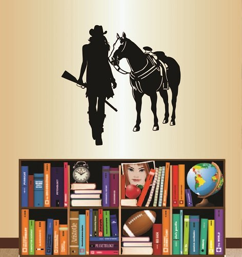 Wall Vinyl Decal Home Decor Art Sticker Cowgirl with Shotgun and Horse Western Girl Woman Room Removable Stylish Mural Unique Design For Any Room 351