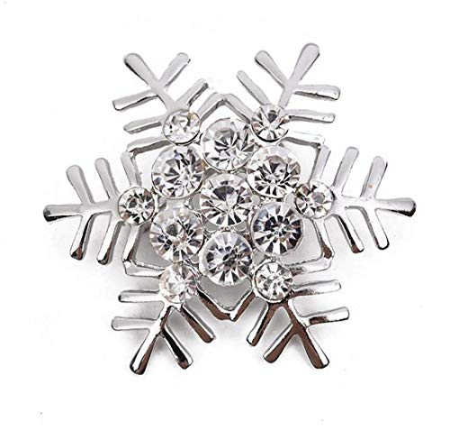 LOSOUL Xmas Pin Brooch Crystal Cluster Santa Wreath Candy Cane Snowflake Banner Pin Delicate,Silver