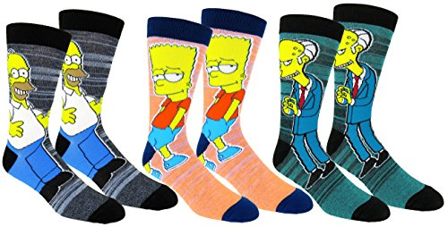 The Simpsons Casual Crew Socks 3 Pair Pack Multi Color (One Size, (The Simpsons Homer Simpson)