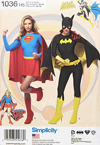 Simplicity Supergirl and Bat Girl Costume Sewing Patterns for Women, Sizes 6-14 -