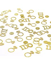 """SAVITA 120Pcs""""I DO"""" Diamond Ring Confetti Including Wedding Table Glitter Confetti, Glitter Circle Dots Decorations,for Bridal Shower, Wedding, Engagement Party, Proposing Marriage (Golden)"""