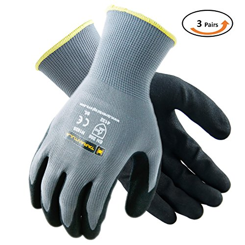 Tarantula Component - TARANTULA Nitrile Coated Safety Work Gloves for General Purposes, Lightweight Work Gloves, 13 Gauge Polyester Shell, Black Sandy Nitrile on Palm and Fingers, 3 Pair Per Pack