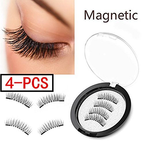 (4 Pieces) Magnet Eyelashes-Dual Magnetic False Eyelashes with NO GLUE 3D Fiber Reusable Best Fake Lashes Extension for Natural Look,Perfect for Deep Set Eyes