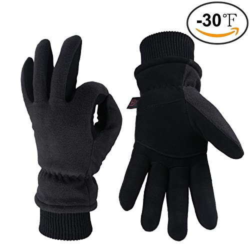 OZERO Work Gloves -30°F Coldproof Thermal Winter Glove - Deerskin Leather Palm & Polar Fleece Back with Insulated Cotton - Windproof Water-resistant Warm hands in Cold Weather for Women Men - Denim(M)