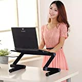 Adjustable Aluminum Laptop Stand, Portable Foldable Laptop Computer Desk For Bed and Sofa, Ergonomic Design with Removable Mouse Pad Suitable For Reading Studying and Home Office