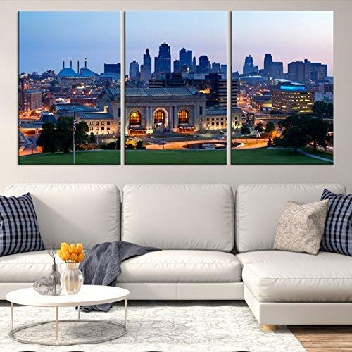 Kansas City Skyline Wall Art by Sami Eymur | X-Large 3 Piece Framed Multi Panel Print | High Resolution Colorful Photo of City for Home Décor | Ready to Hang, 3 Extra Large Sizes