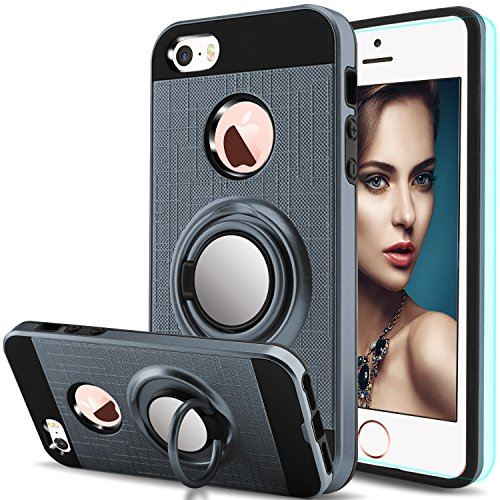 iPhone 5S Case,iPhone SE 2,iPhone 5,iPhone SE,iPhone 5SE Case with HD Screen Protector,Anoke Cellphone 360 Degree Rotating Ring Holder Kickstand Drop Protective Cover for Apple iPhone 5 ZS Metal Slate