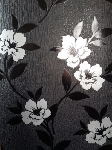 Black wallpaper with silver flowers cacosdafap grace feature wallpaper black silver textured vinyl flower design amazon diy tools mightylinksfo
