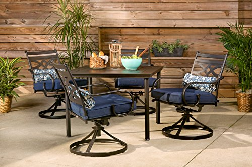 Hanover MCLRDN5PCSQSW4-NVY Montclair 5-Piece Patio Dining Set in Navy Blue with 4 Swivel Rockers and a 40-Inch Square Table Outdoor Furniture (Dining Sets Depot Patio Home)