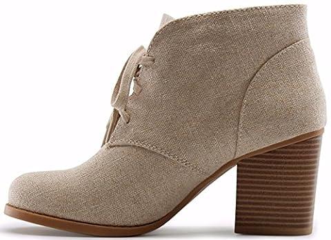 Marco Republic Stockholm Medium Mid Heels Ankle Booties Boots - (Beige) - 8