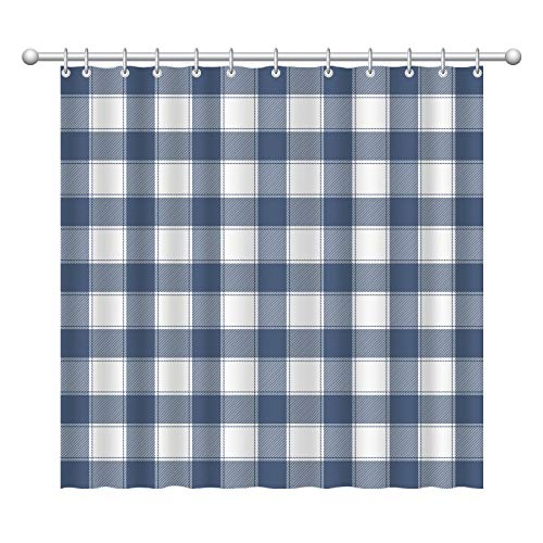 Blue and White Buffalo Check and Plaid Shower Curtain for Bathroom, Fabric Cloth Rustic Farmhouse Style Shower Curtains(72x72 inches)
