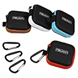 Meuxan 4-Pack Earbud Case Earphone Storage Pouch with Carabiner for USB Cable Flash Drive Small Batteries, 4 Colors