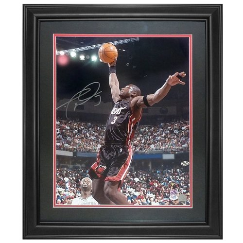 Autographed Wade Photograph - Dwyane Wade Autographed Miami Heat (Black Jersey) Deluxe Framed 16x20 Photo - D Wade Holo