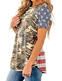 Womens Tops, MEEYA Camouflage Print American Flag Sexy Short Sleeve Blouse T-Shirt Tee