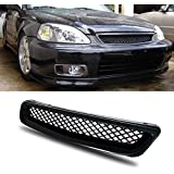 Mifeier Fit 96-98 Civic Coupe/Hatchback/Sedan JDM T-R Type Black ABS Grill Front Mesh Hood Grille