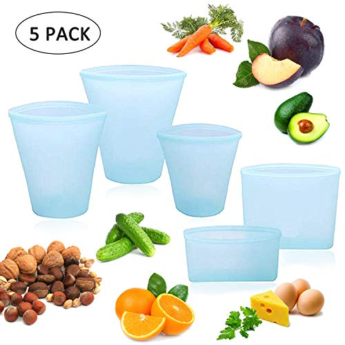 Finyosee Reusable Silicone Food Cups and Bags, Top Leakproof Containers Stand Up Stay Open Zip Shut Storage Bag ,WIth Zip Lock,Snack Fruit Bag Cup Pattern Dishes Bag(3 Cups & 2 Bags)