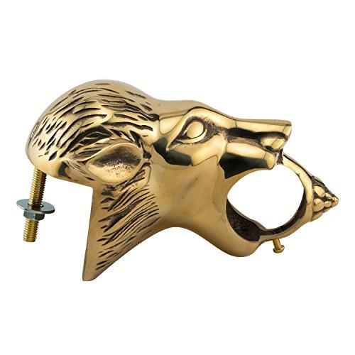 KegWorks Lion Head Decorative Bar Rail Bracket - Polished Brass - For 2