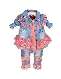 YOA Baby Girls Clothing Sets 3 Pieces Sets T Shirt Denim Jacket Jeans