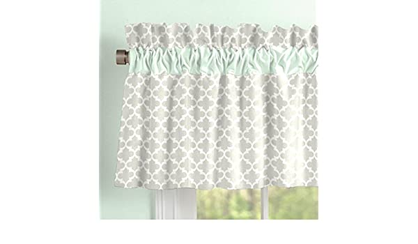 Amazon Carousel Designs French Gray And Mint Quatrefoil Window Valance Rod Pocket Baby