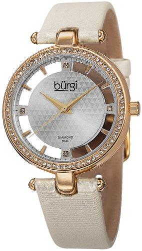 Burgi Women's 'Polished Finish Alloy Case' Swiss Quartz Metal and Satin Dress Watch, Color:White (Model: ()