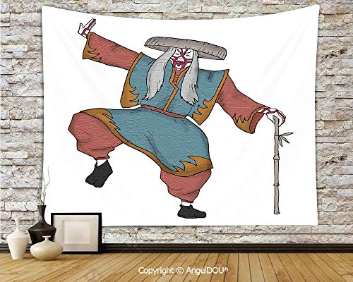 AngelDOU Kabuki Mask Decoration Soft Fabric Durable Tapestry Wall Hanging Cultural Asian Character Posing Traditional Hat Makeup and Costume Decorative Wall Art Hippie Tapestry.W78.7xL59(inch) for $<!--$27.50-->