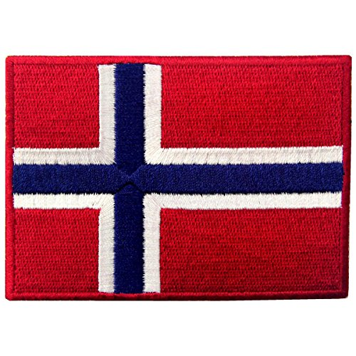 Flag Transfer (Norway Flag Embroidered Emblem Norwegian National Iron On Sew On Patch)