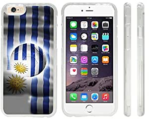 Rikki KnightTM Brazil World Cup 2014 Uruguay Team Football Soccer Flag Design iPhone 6 Case Cover (Clear Rubber with front bumper protection) for Apple iPhone 6