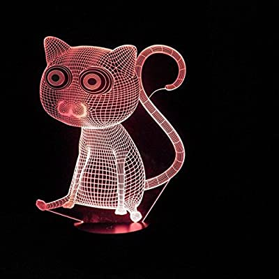 SUPERNIUDB Big Eyes Cat 3D Night Light 7 Color Change LED Table Lamp Xmas Toy Gift