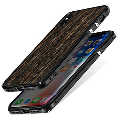 iphone X Wood Case,iPhone 10 wooden Case,SHOWKOO Slim Real Wooden Shockproof Protective iphone Cover for Apple 5.8 In iPhone X (Metal and Ebony)