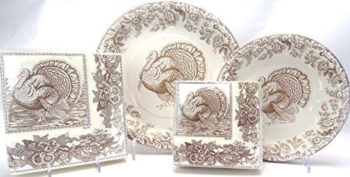 Serves 16! Spode Woodland Celebration Thanksgiving Turkey Paper Plates & Napkins, 112 Pcs Brown & (Woodland Turkey Service Plate)