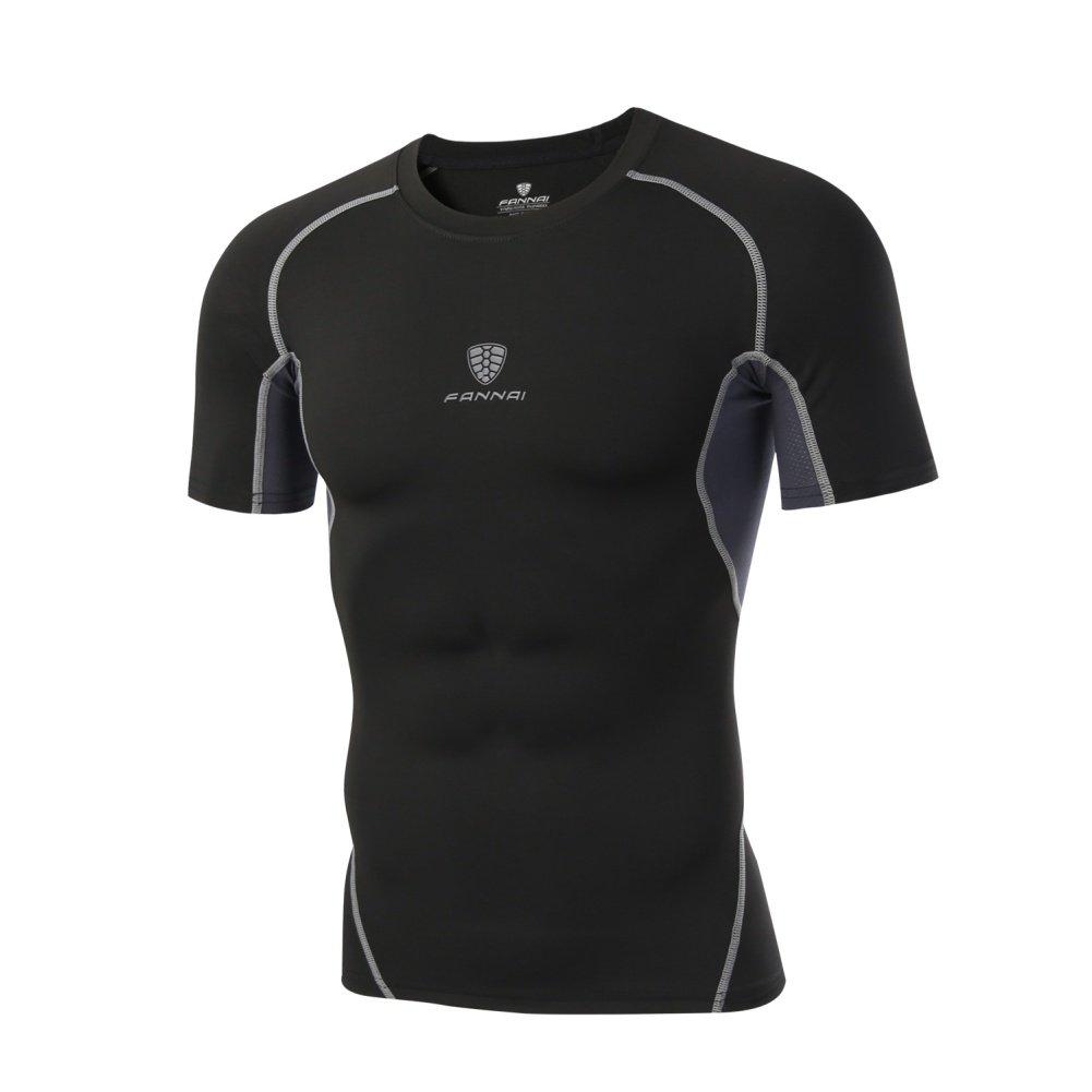 Leezo Herren Kompression Shirt O/Crew Neck Short Sleeve Schnell trocknend atmungsaktiv Sports Fitness Laufbekleidung