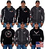 JH DESIGN GROUP Mens Chevy Corvette Hoodies with Exclusive American Flag Sticker (X-Large, BSC7-charcoal gray)