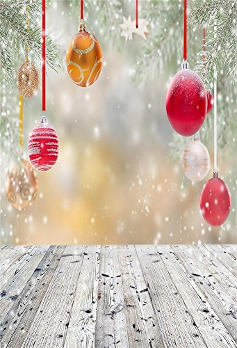 3x5FT Laeacco Christmas Bauble Backdrop Photography Background Abstract Background Balls Snowflakes Wood Plank Theme Background Children Girls Portraits Photo Studio Props 1x1.5M