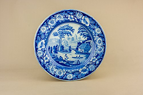 Large Beautiful Serving DISH Landscape Pottery Gift Antique Blue And White Victorian Cake Mid 19th Century English LS