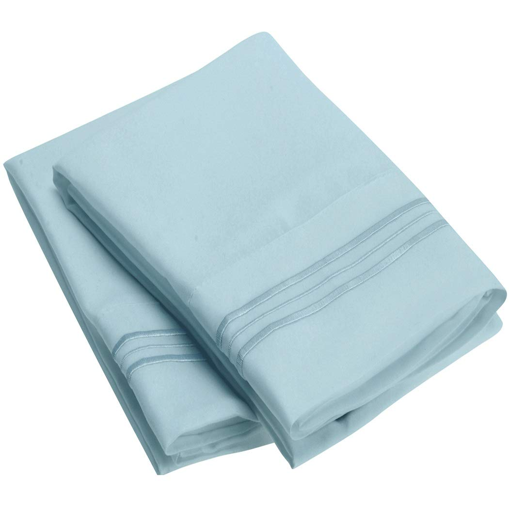 Mellanni Luxury Pillowcase Set - Brushed Microfiber 1800 Bedding - Wrinkle, Fade, Stain Resistant - Hypoallergenic (Set of 2 Standard Size, Baby Blue)