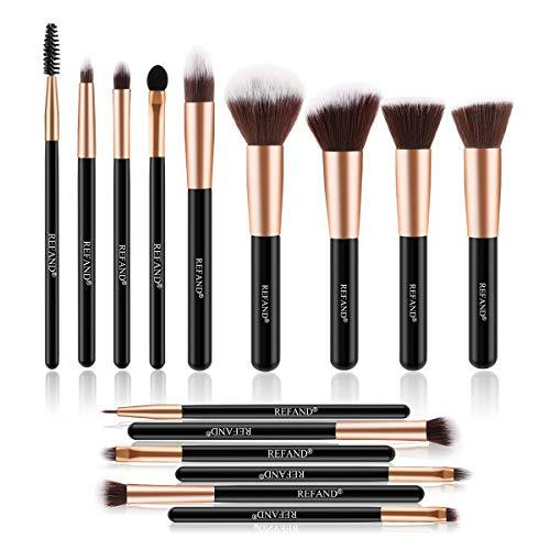 Refand Makeup Brushes Premium Makeup Brush Set 15 Pcs Professional Makeup Kit Rose Gold Black