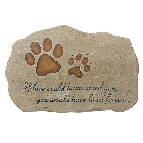 JSYS Pet Memorial Stone Marker for Dog or Cat for Outdoor Garden, Backyard, or Lawn (Paw Print Stone)