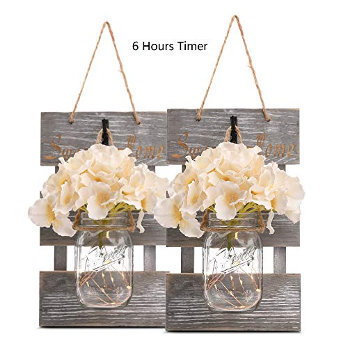 Rustic Grey Mason Jar Sconces for Home Decor, Decorative Chic Hanging Wall Decor Mason Jars with LED Strip Lights, 6-Hour Timer, Silk Hydrangea, Iron Hooks for Home & Kitchen Decorations [Set of 2]]()