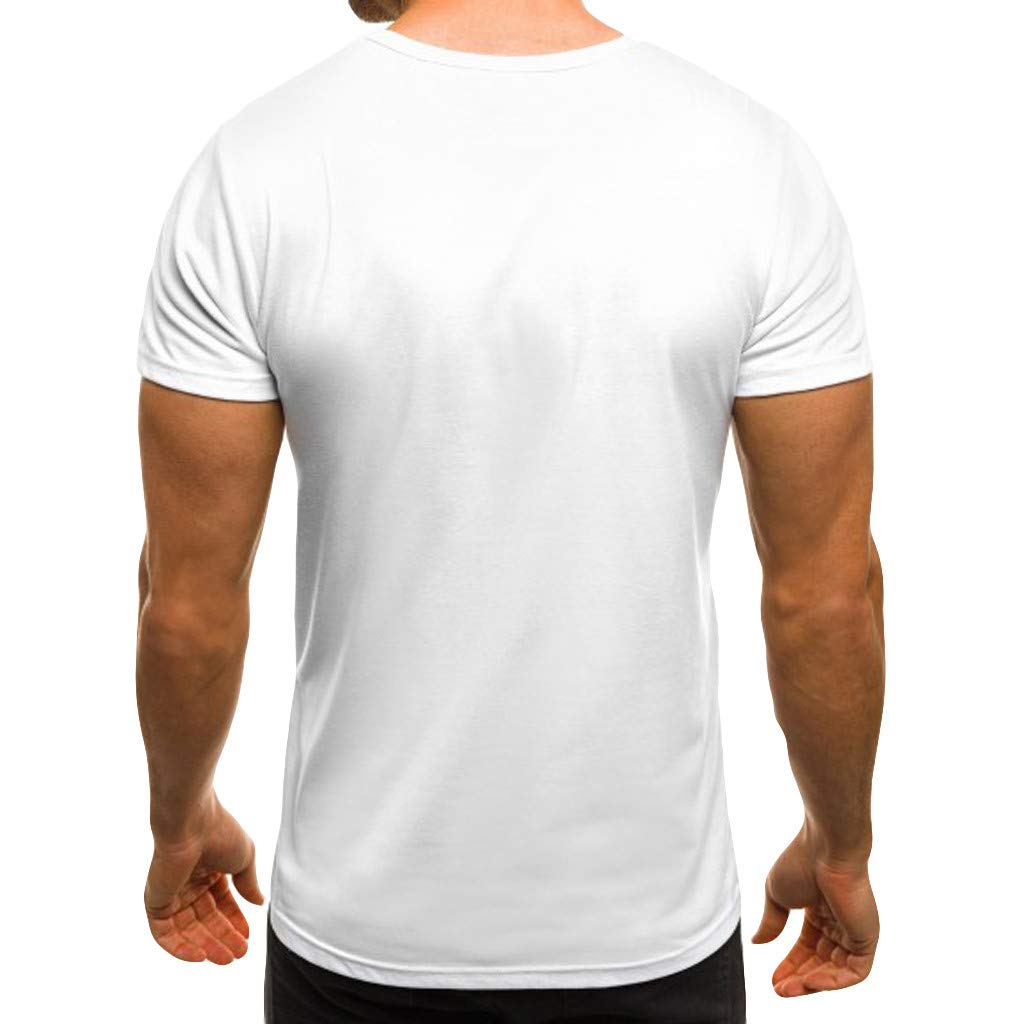 2019 Summer Deals ! Men's Summer Casual Printing Patchwork Elastic Short Sleeve Casual Slim Fit T-Shirt Blouse Tops White