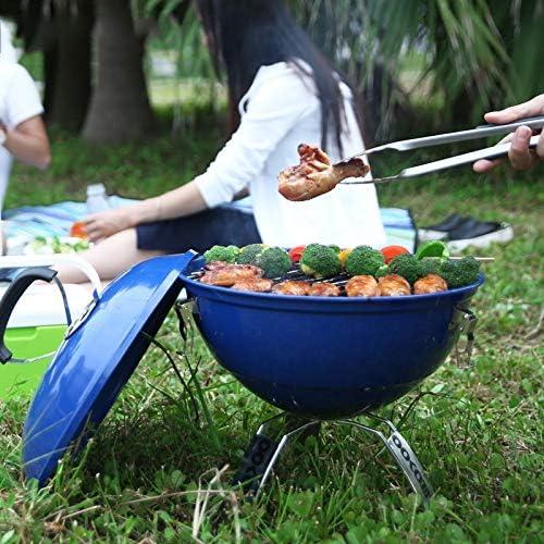 Rindasr Barbecue barbecue, inox gainées four avec ventilation, outil de barbecue portable, Backyard Grill carbone plage de pique-nique de camping en plein air