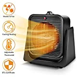 2 in1 Portable Space Heater - Quiet Combo Ceramic Electric Personal  Fan