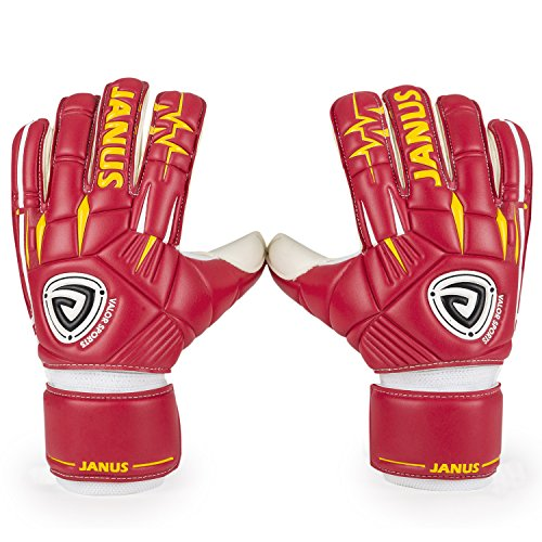 Surround Goalkeeper Glove (Valorports Professional Soccer Adult Child Fingersave Removable 4mm Germany Latex Goalkeeper Gloves JA939 (Red, 9))