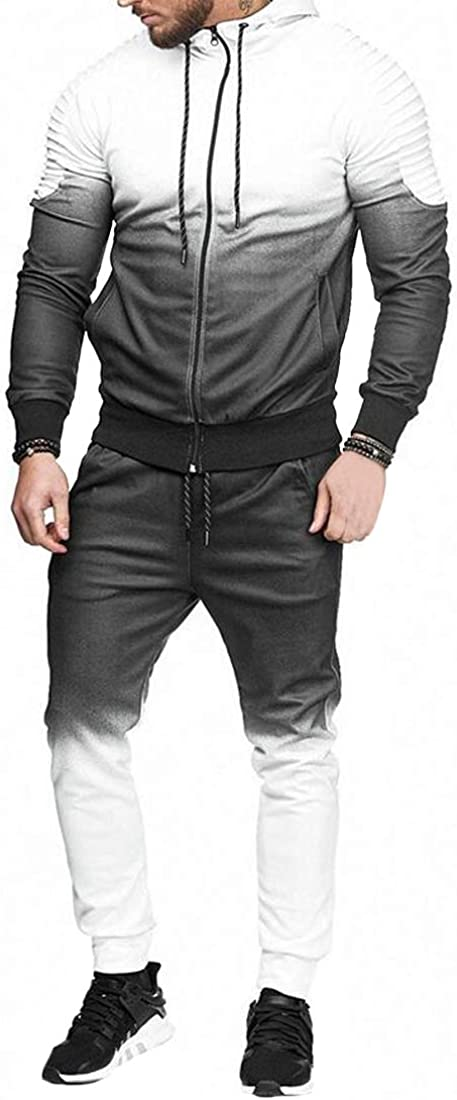GloryA Mens 2PCS Ombre Color Sports Hoodie Coat Jogging Sweatpants Tracksuit Set