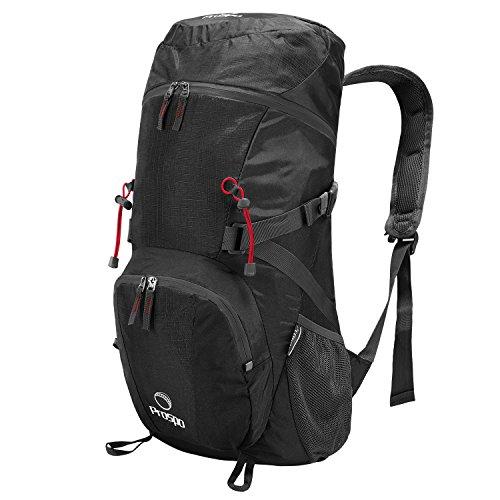Prospo Large Shoulder Packable Backpack Travel Daypack Foldable Lightweight Bag 40L for Hiking Camping(Black)